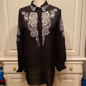 Vintage Bob Mackie Embroidered Silk Top Size M